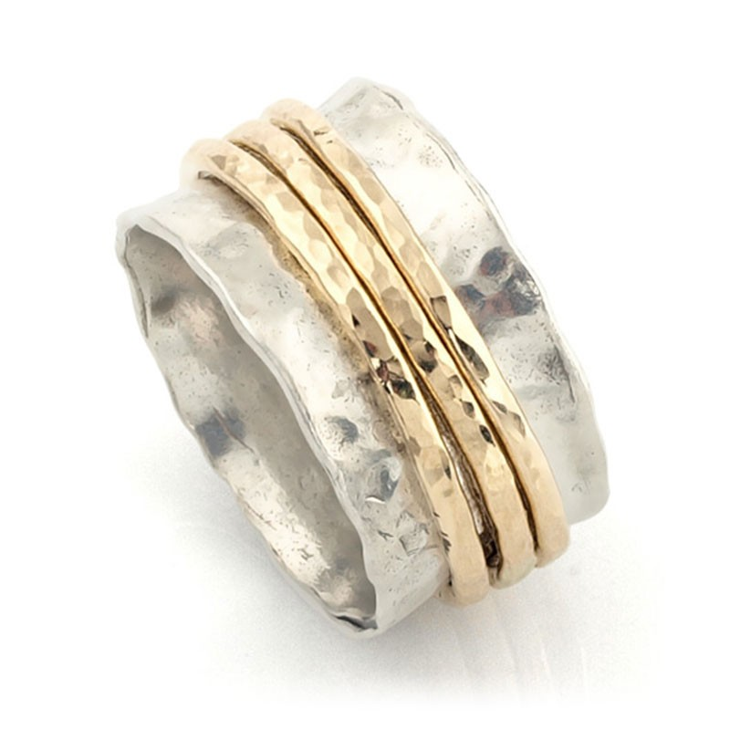 silver spinning ring with 3 gold filled bands spinner