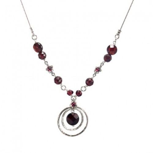 Silver Necklace with Garnet