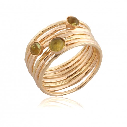 Gold Filled 7 Stack Rings with Pridot