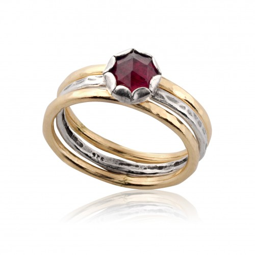 Silver and Gold Filled 3 Stack Rings with Garnet