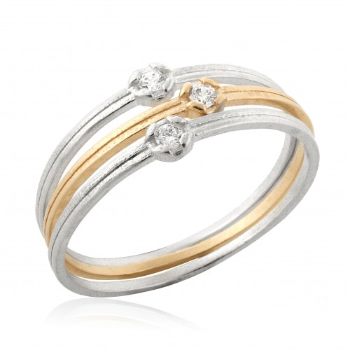 Vermeil and silver 3 Stack Rings with Zircon