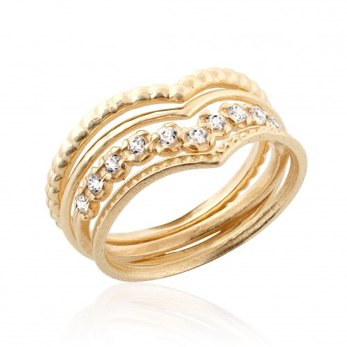 Vermeil 4 Stack Rings with Zircon