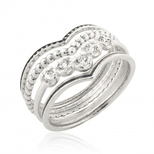 Silver  4 Stack Rings with Zircon