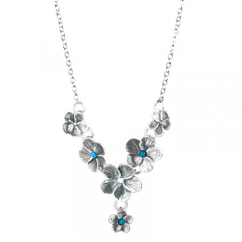 Silver Flowers Necklace with Opal
