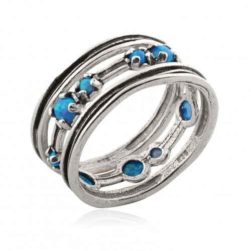 Silver 3 Stack Rings with Opal