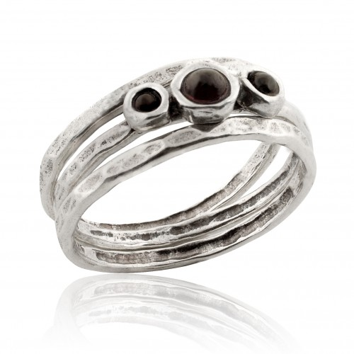 Silver 3 Stack Rings with Garnet
