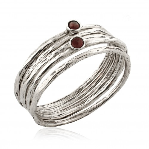 Silver 5 Stack Rings with Garnet