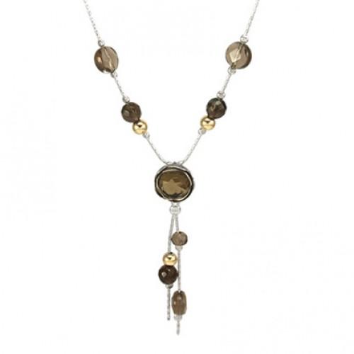 Silver Necklace with SmokyQuartz