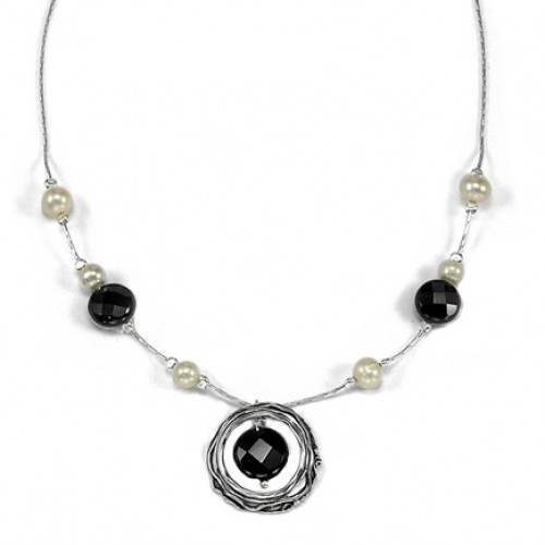 Silver Necklace with Onyx and Pearls