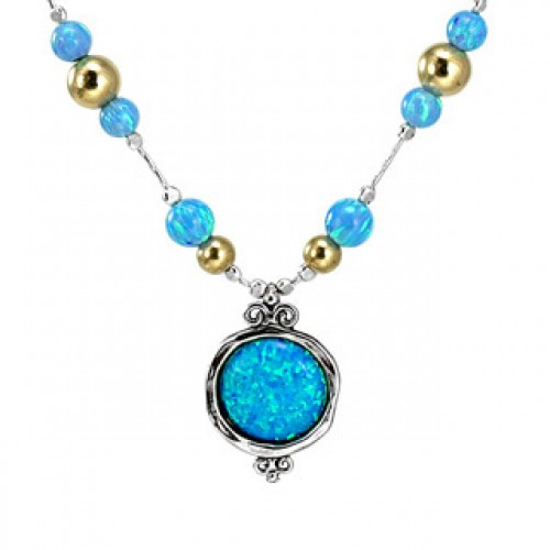Silver Necklace with Opal and Goldfilled beads