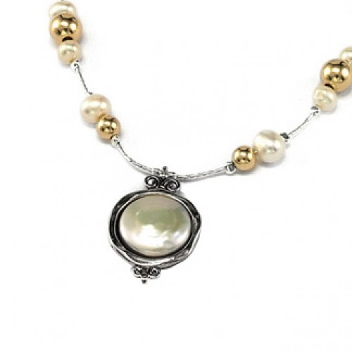 Silver Necklace with Pearls and Goldfilled beads