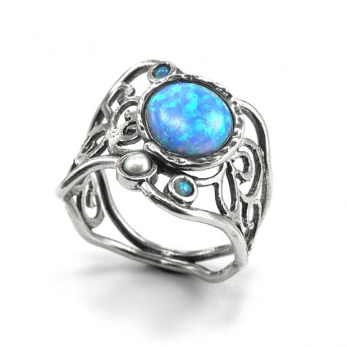 Silver Ring with Opal and Pearl
