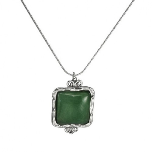 Silver Necklace with Aventurine
