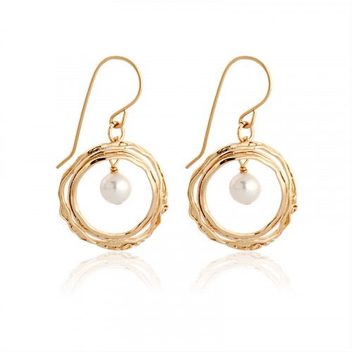 Gold filled earrings, pearl