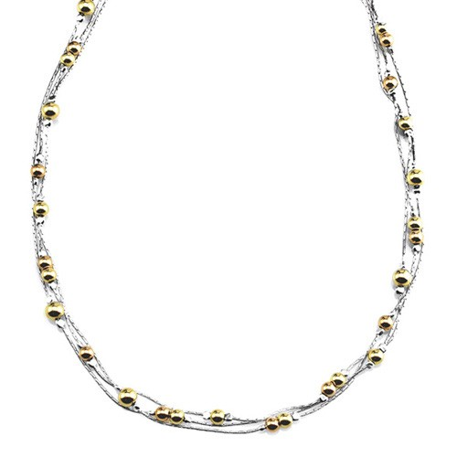 Silver Necklace with Goldfilled beads