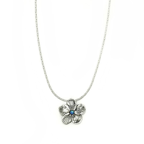 Silver Flower Necklace with Opal