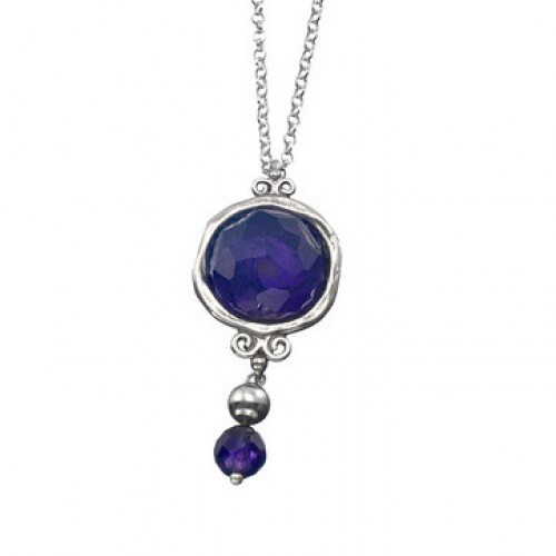 Silver Necklace with Amethyst