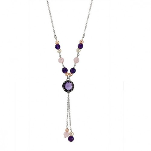 Silver Necklace with Amethyst, Rosequartz and Pearls