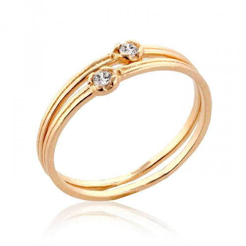 14K Gold Stack Ring with Zircon