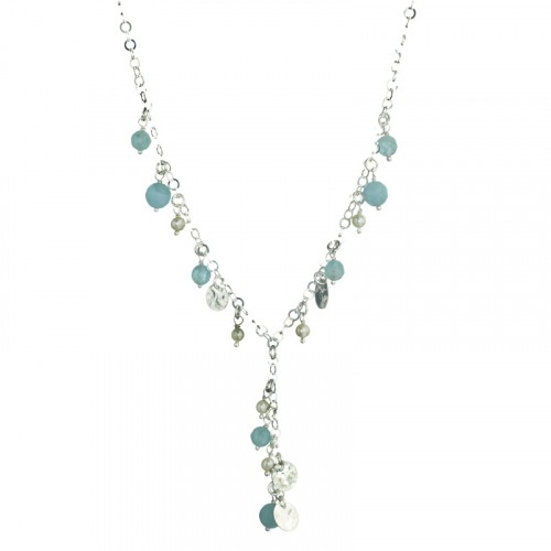 Silver Necklace With Aquamarine And Pearl