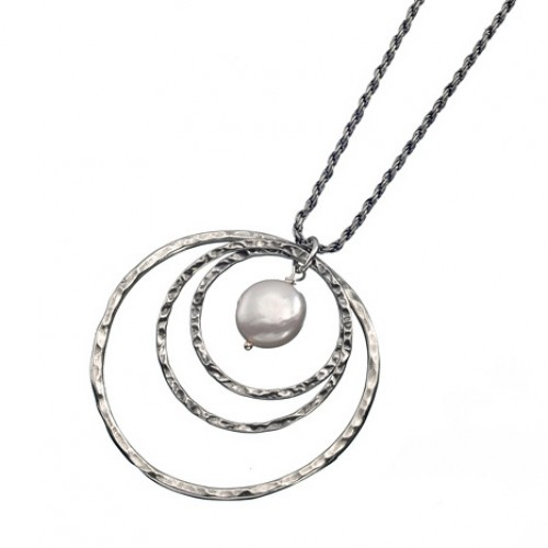 Silver Hoops Necklace with Pearl