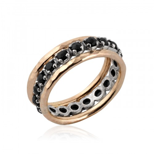 Silver and Gold Filled Stack Ring with Onyx