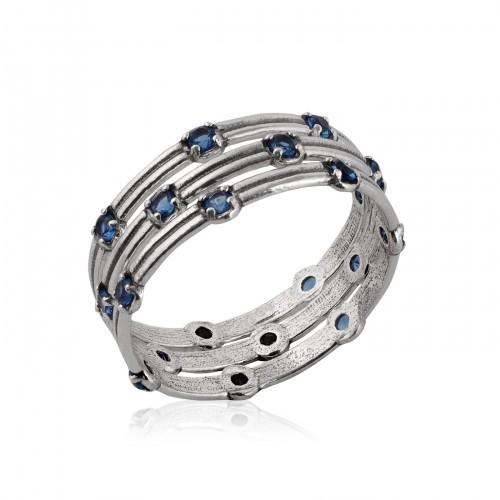 Silver Ring with Sapphire Corundum