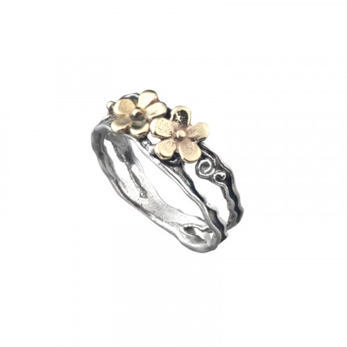 Flower Silver and Gold 9K Stackable Ring
