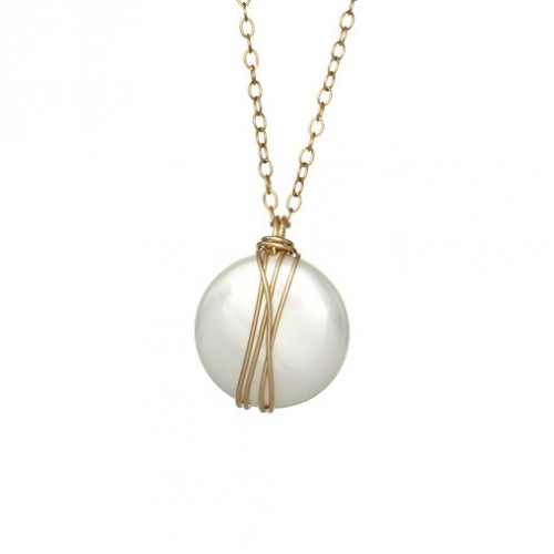 Gold Filled Necklace with Coin Mayorka Pearl