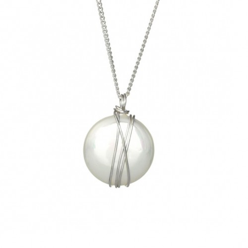 Silver Necklace with Coin Mayorka Pearl