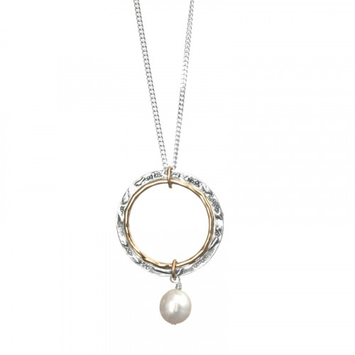 Silver and Gold Filled Necklace with Pearl