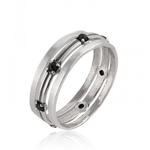 Silver Stack Ring with Onyx