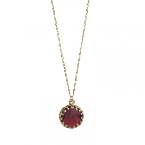 Israeli Jewelry Gold Filled Necklace With Garnet