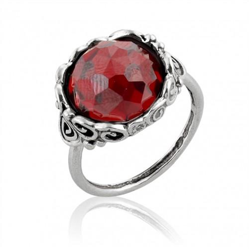 Silver Ring with Garnet Zircon