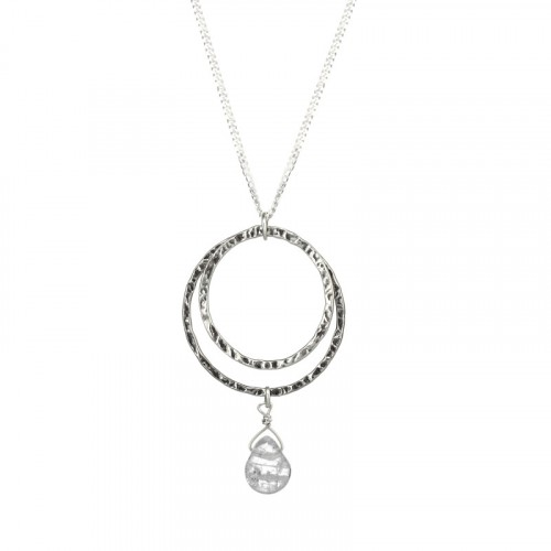 Silver Necklace with Crystal
