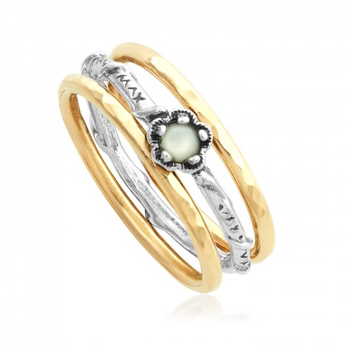 Silver and Gold Filled Stack Ring with Pearl