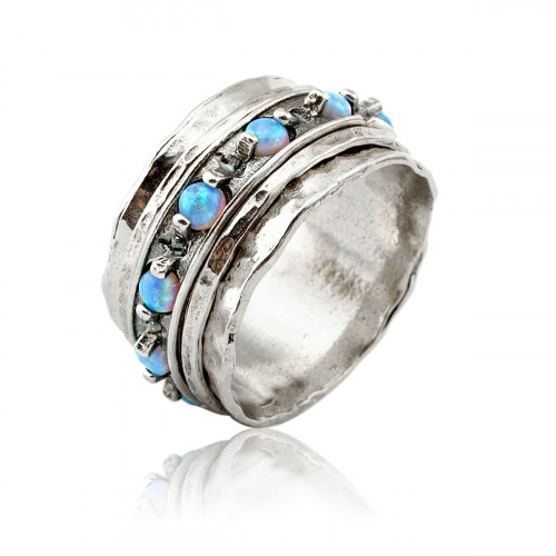 Silver Spinning Ring with Opal