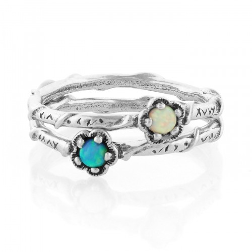 Silver Stack Ring with Opal