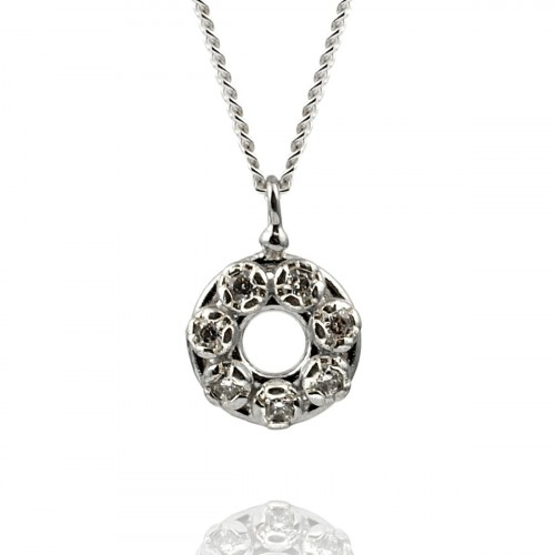 Silver Necklace with Zircon