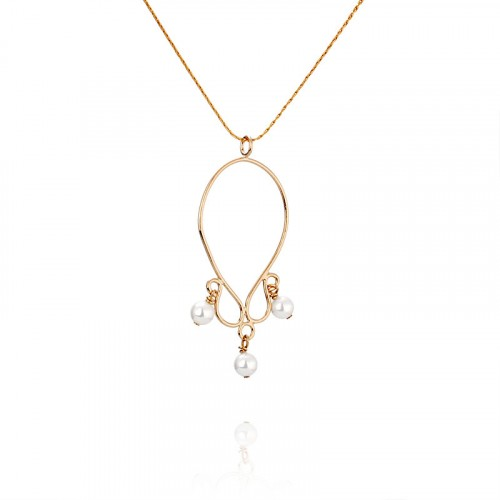 Gold filled necklace, pearl