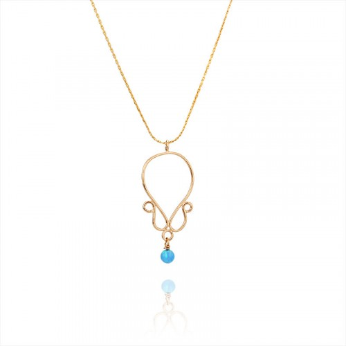 Gold filled necklace, opal