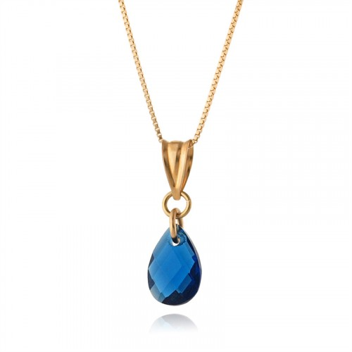 14K Gold Necklace with Blue Zircon