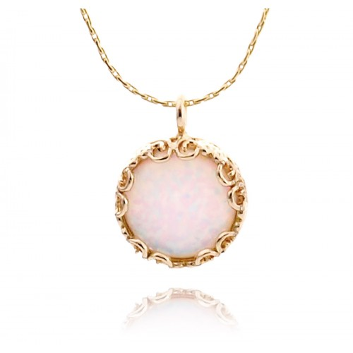 Vermeil Necklace with White Opal