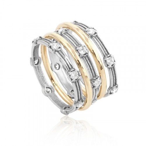 Silver And Gold Filled Stack Ring with Zircon
