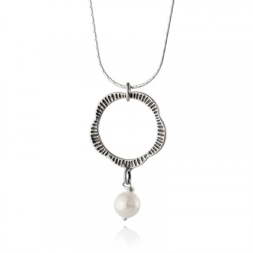 Silver Necklace with Pearl
