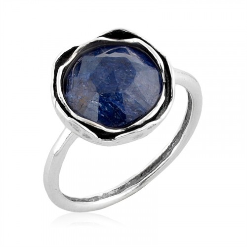 Silver Ring with Sapphire Corundum