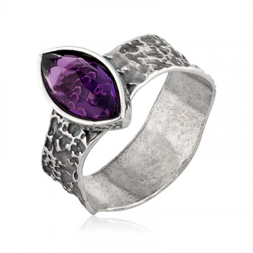 Silver Ring with Syn. Amethyst