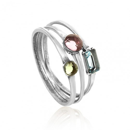 Silver Stack Rings with Pridot and Topaz