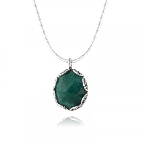 Silver Necklace with Green Corundum