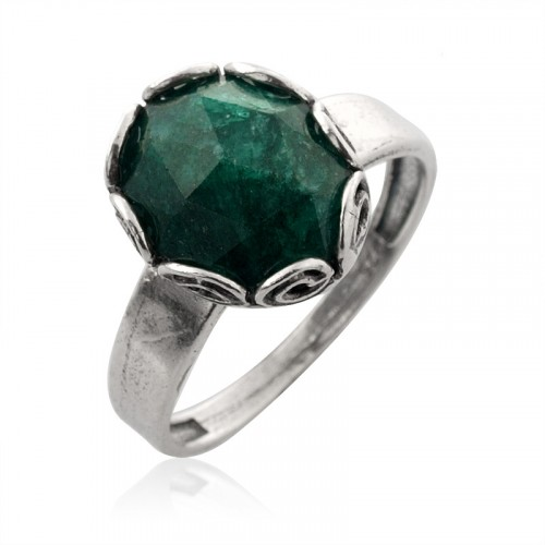Silver Ring with Green Corundum